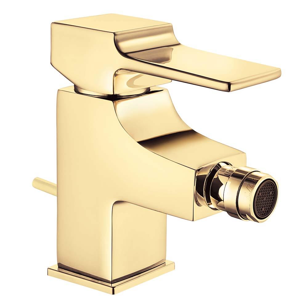 Caro Bidet Mixer with Semi Pop-Up - Gold Effect