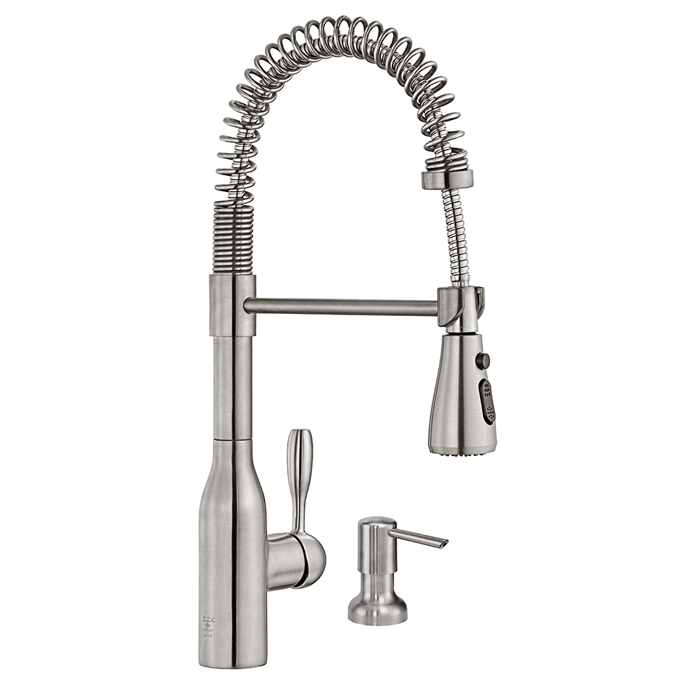 Flux Sink Mixer with Liquid Soap Dish - Stainless Steel Effect