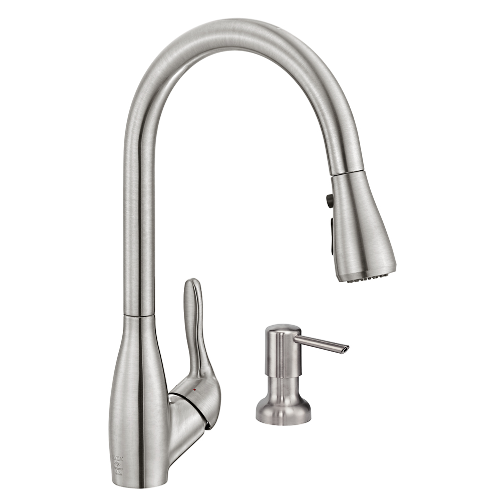 Wica Pullout Sink Mixer with Liquid Soap Dish - Stainless Steel Effect