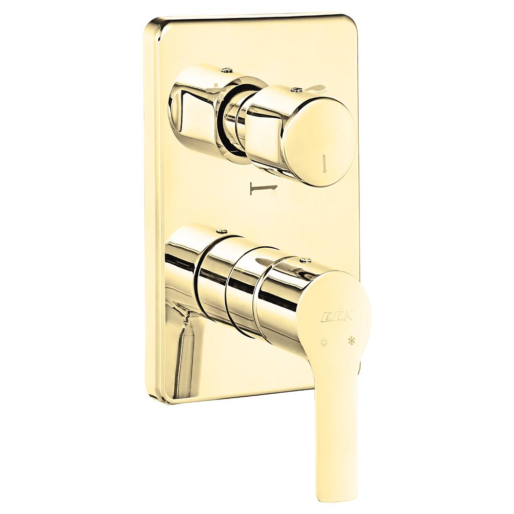 Luna Ankastre Banyo Bataryası Sıva Üstü Grubu - 3 yollu - Altın Görünümlü
